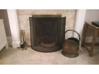 Antique style fire irons and coal bucket - bronze colour, perfect working order