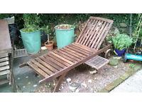 Par of Large Wooden Garden Lounger Steamer Chairs