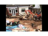 Mini & micro digger hire with driver all garden work undertaken