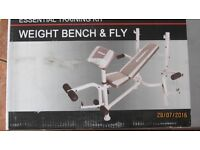 weight bench & fly, dumbbells & extra weight