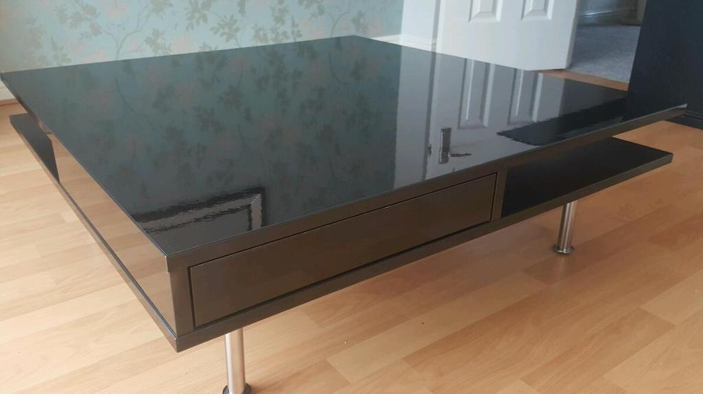 Ikea Tofteryd Black High Gloss Coffee Table In Mansfield