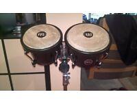 Meinl Headliner Bongo Drums 6.5in/7.5in (Black) & Meinl Headliner series double braced bongo stand.