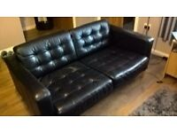 2 black leather sofa's, 2 seaters, good condition £80ono