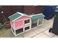 2 Rabbits, 6ft Rabbit Hutch, Hay, Food and travel carrier + more