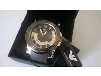 'ARMANI' WATCH FOR MEN, BLACK/SILVER, NEW-GIFT BOXED WITH TAGS, COLLECT/DELIVERY. TEL.07803366789
