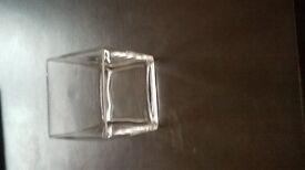 "3 off 6"" glass cube vases perfect and unused no longer needed hence low price."