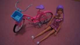 Barbie doll + bike + helmet set