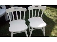2 SHABBY CHIC CREAM OFF WHITE KITCHEN CHAIRS