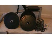 Squat Rack, 7' Olympic Bar + Bench + Weights 20kg, 10kg Rubber Coated, 5kg - 1.25kg Tri-Grip