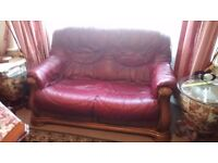 RED ITALIAN REAL LEATHER SOFA & ARM CHAIR SET IN A BEAUTIFULLY CARVED WOODEN FRAMES