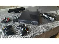 Xbox 360 with kinect and 2 wireless controllers