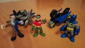 Batman with Bike, Robin & Two Faces with Plane (Imaginext)