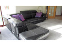 Black Leather L shaped suite with or without matching futon