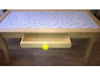 Shabby chic beech coffee table with draw and leaf design top