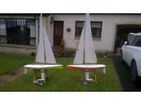 Two radio control sailing boats