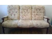 Sofa - Cintique 3 seat mahogany frame settee
