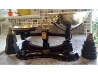 Vintage Salter 56 kitchen scales with imperial and metric weights with braille notation