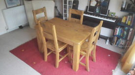 Solid wood dining table and 4 dining chairs
