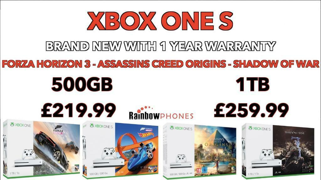 Brand New Xbox One S • 500GB / 1TB Available • Assassins Creed Origins Forza Horizon Shadow of War