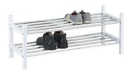 2-Tier Stackable Wood Frame Chromed Tubes Shoe Rack,White-SR10W