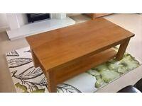 Coffee Table, Solid Oak, Excellent condition, Size 132cm x 62cm x 45cm. £85