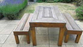 PATIO TABLE AND 2 BENCHES. All wood contruction.