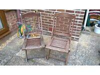 2 Teak Garden Chairs