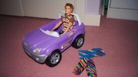Barbie's car + Ken doll + clothes