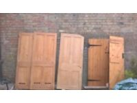 Old pine doors and modern ledge and brace.