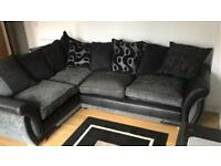 Nearly new black and grey corner sofa for sale