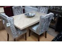 ❤️Stunning Cream Marble Dining Table and Four Beautiful Silver Crushed Velvet Knocker Back Chairs❤️