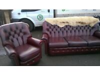 Chesterfield Sofa & 2 Armchairs