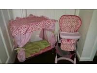 Dolls 4 poster bed and highchair silvercross