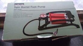 Halfords double barrel foot pump