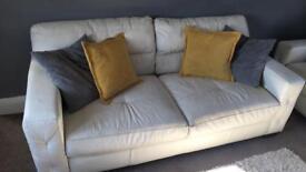 3/4 seater cream leather sofa