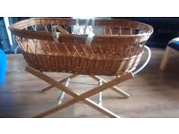 Wicker moses basket with wooden stand and optional cover