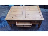 Good solid Mexican pine coffee table that has been varnished, ideal for refurb or upscaling
