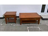 solid timber coffee table and side table