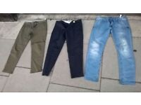 Three pairs of skinny fit men's trousers size 32 excellent central London bargain