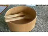 Large Wooden Salad Bowl and Salad Servers