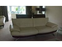 Cream & brown leather sofas & chaise (£425 ono)