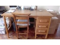 Old Fashioned Oak Desk with three drawers