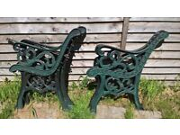 Cast iron 2 chair ends also have cast iron bench ends