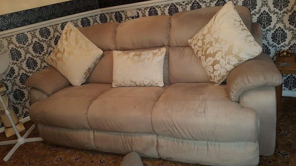 Chunky 3 + 2 seater genuine swede sofas