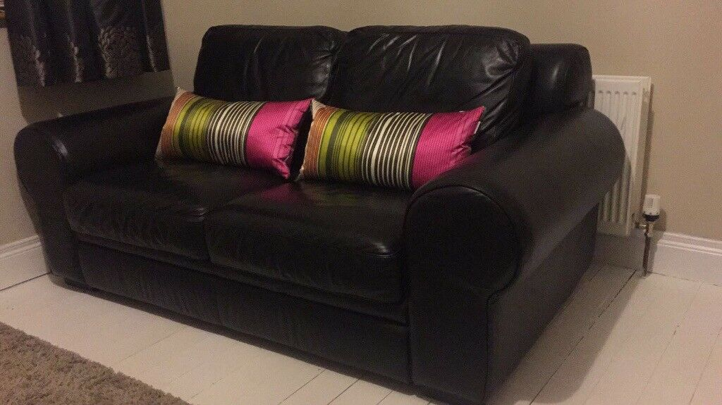 Top quality black leather sofas 2 seater+3 seater East Belfast
