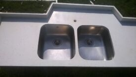 Mistral solid worktop like `Corian, Undermounted stainless sink