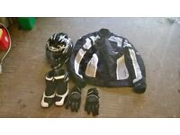 motorcycle kit outfit jacket helmet boots gloves