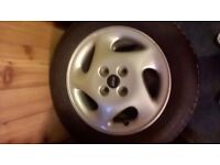 RARE FIAT PUNTO MK1 GT ALLOY WHEELS / GOOD TYRES