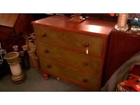 Antique Pine Chest of Drawers - painted pine Victorian drawers available from Ellies'Great Yarmouth
