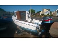 14ft Fishing Boat With Trailer & 4 Stoke Engine